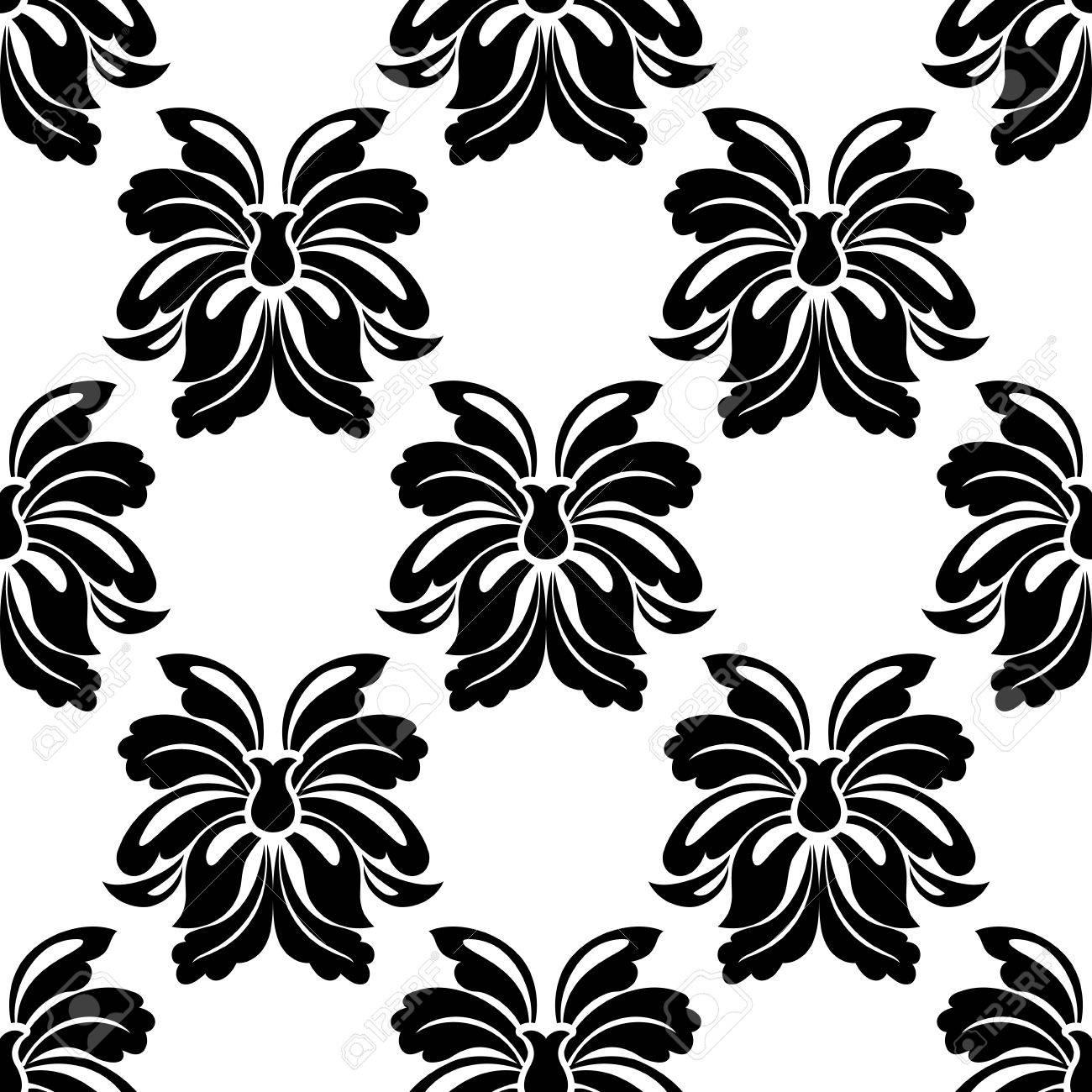 Seamless Floral Pattern En Noir Et Blanc Avec Un Dessin De Répétition De Grandes Fleurs Tropicales Simples Décoratifs Illustration Vectorielle