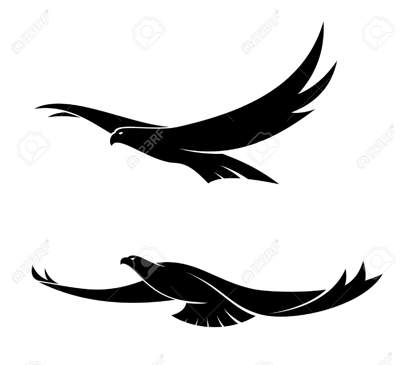 eagles flying  Silhouette in  Eagle Head Silhouette Vector