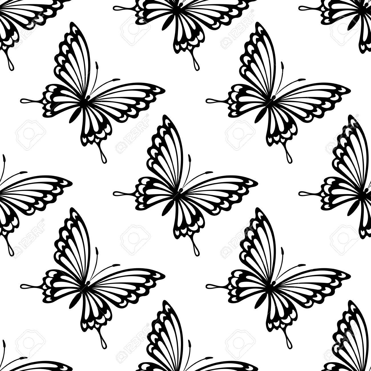 Dainty Black And White Seamless Pattern Of Flying Butterflies In Square Format For Wallpaper Stock Vector