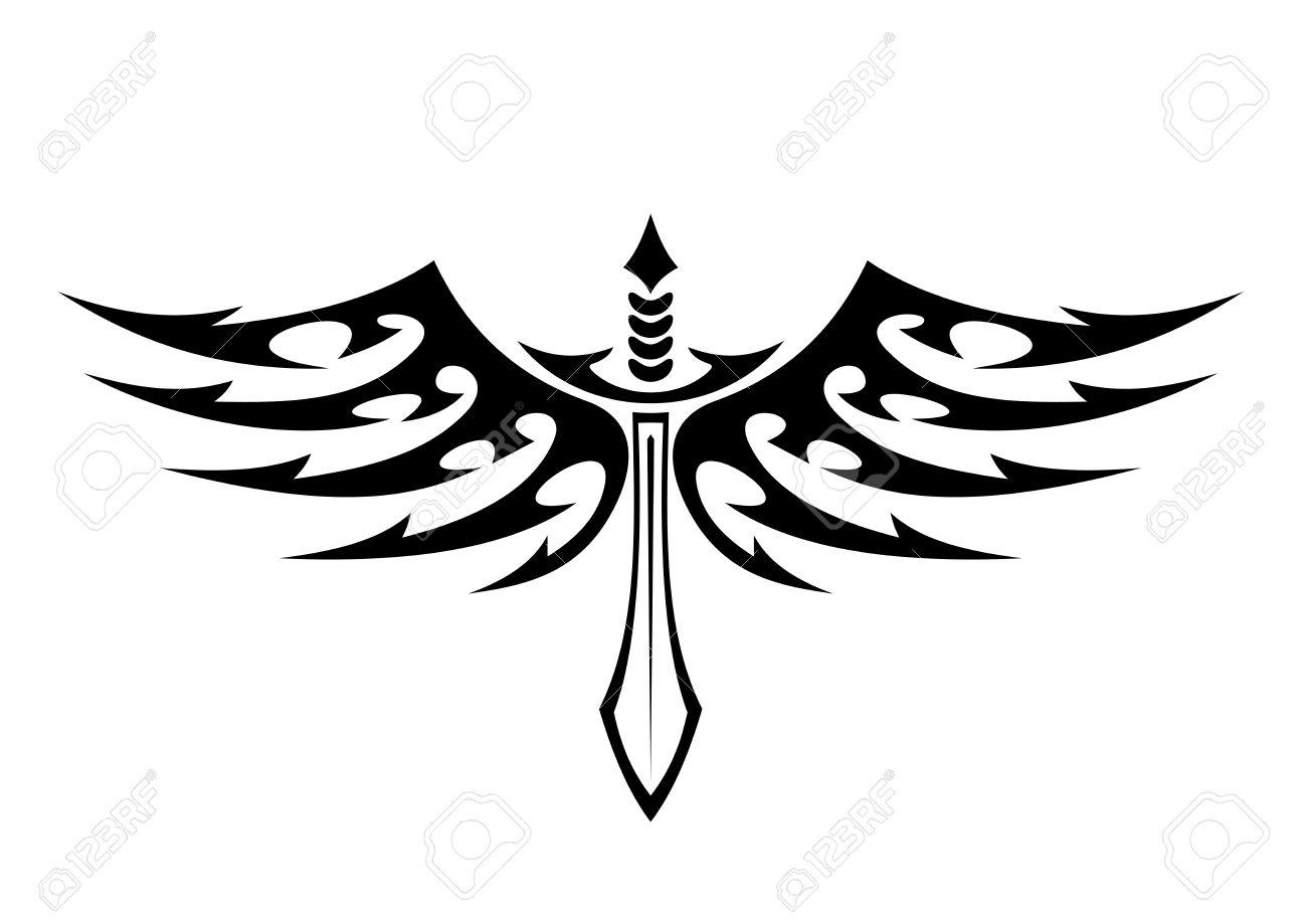 Ilustración En Blanco Y Negro De Un Tatuaje Espada Con Alas Con