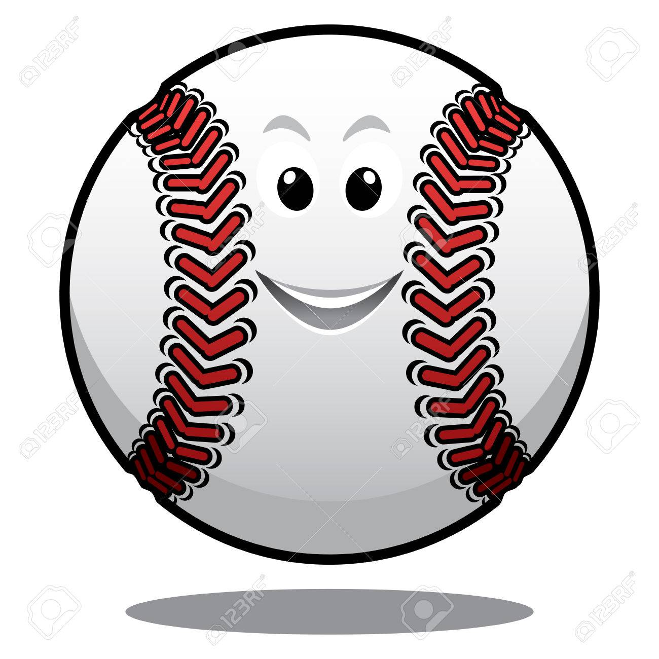 happy white baseball ball with red stitching and a smiling face