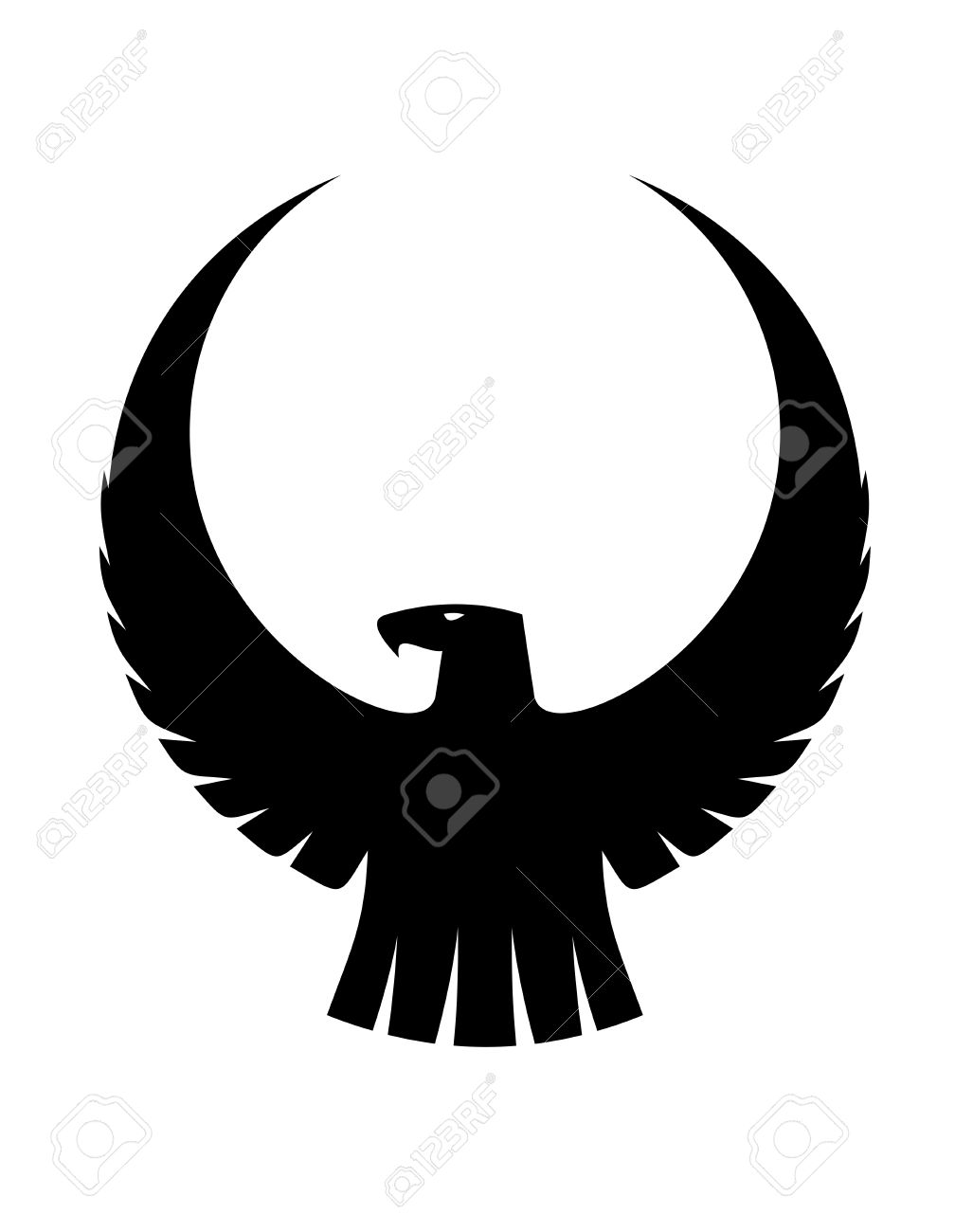 Black and white silhouette of  Eagle Head Silhouette Vector