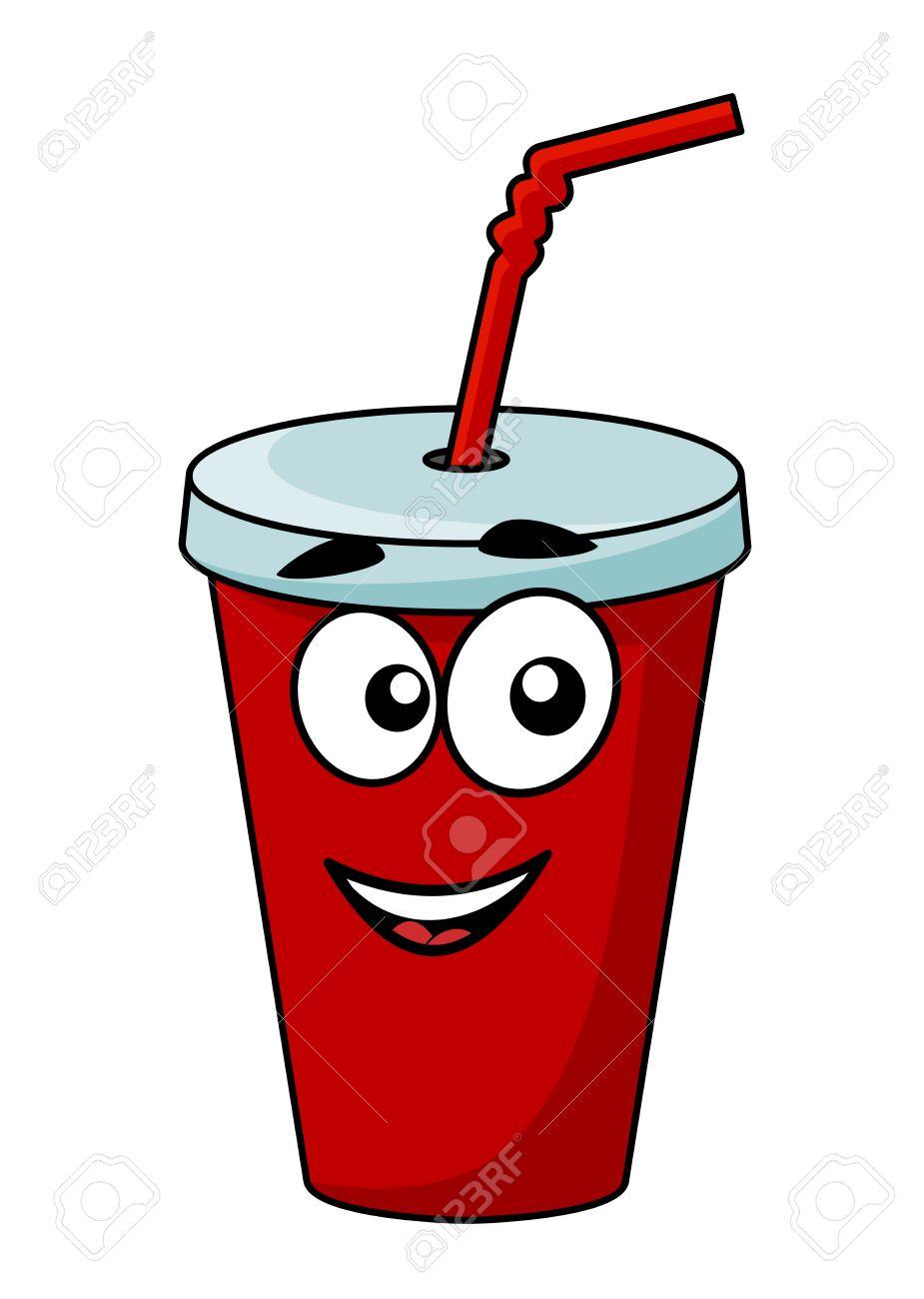 cartoon emporter soda dans un verre recouvert d une paille avec un rh fr 123rf com
