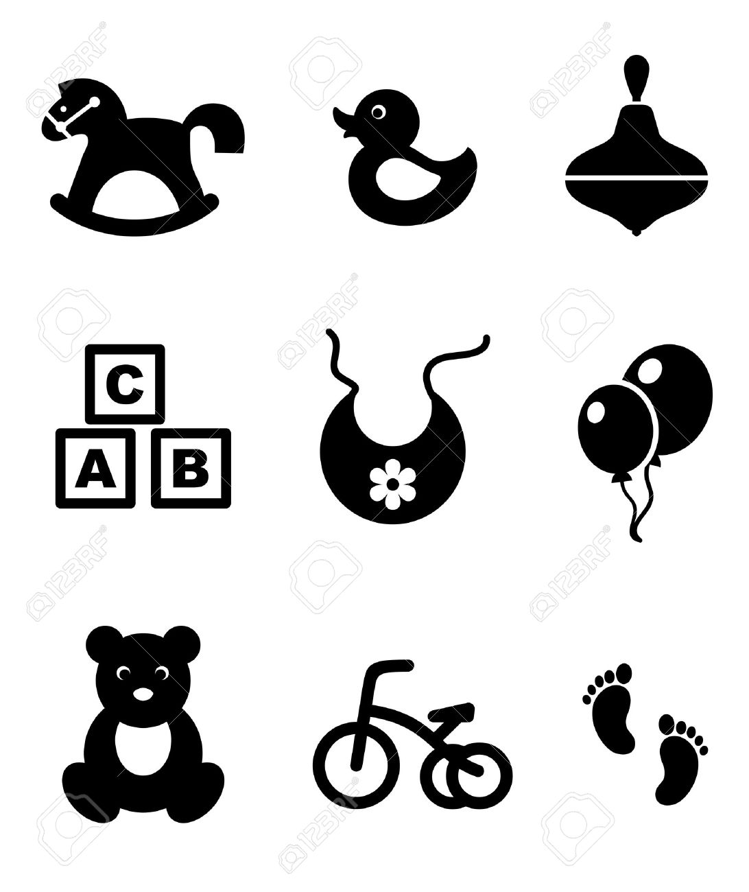 Set Of Nine Different Black And White Baby Icons Depicting A