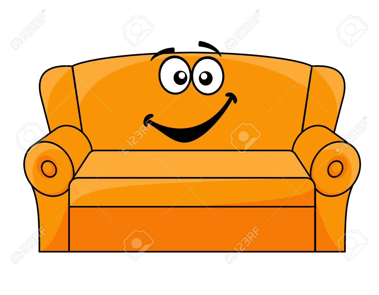 Cartoon Upholstered Orange Couch Sofa Or Settee With A Happy