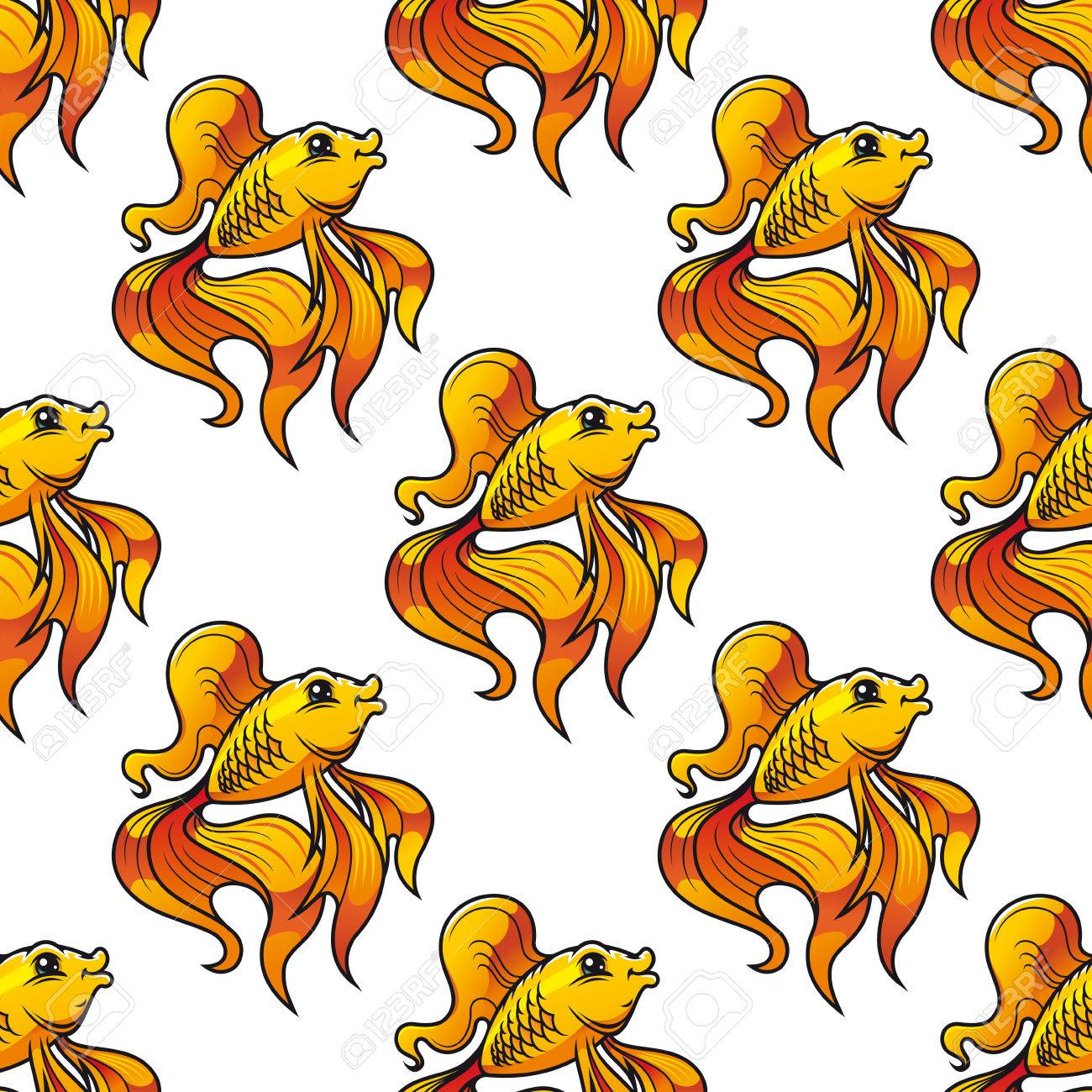 Seamless pattern of colorful golden ornamental goldfish with long fins and tails suitable for textile, tiles or wallpaper, square format Stock Vector - 27165837
