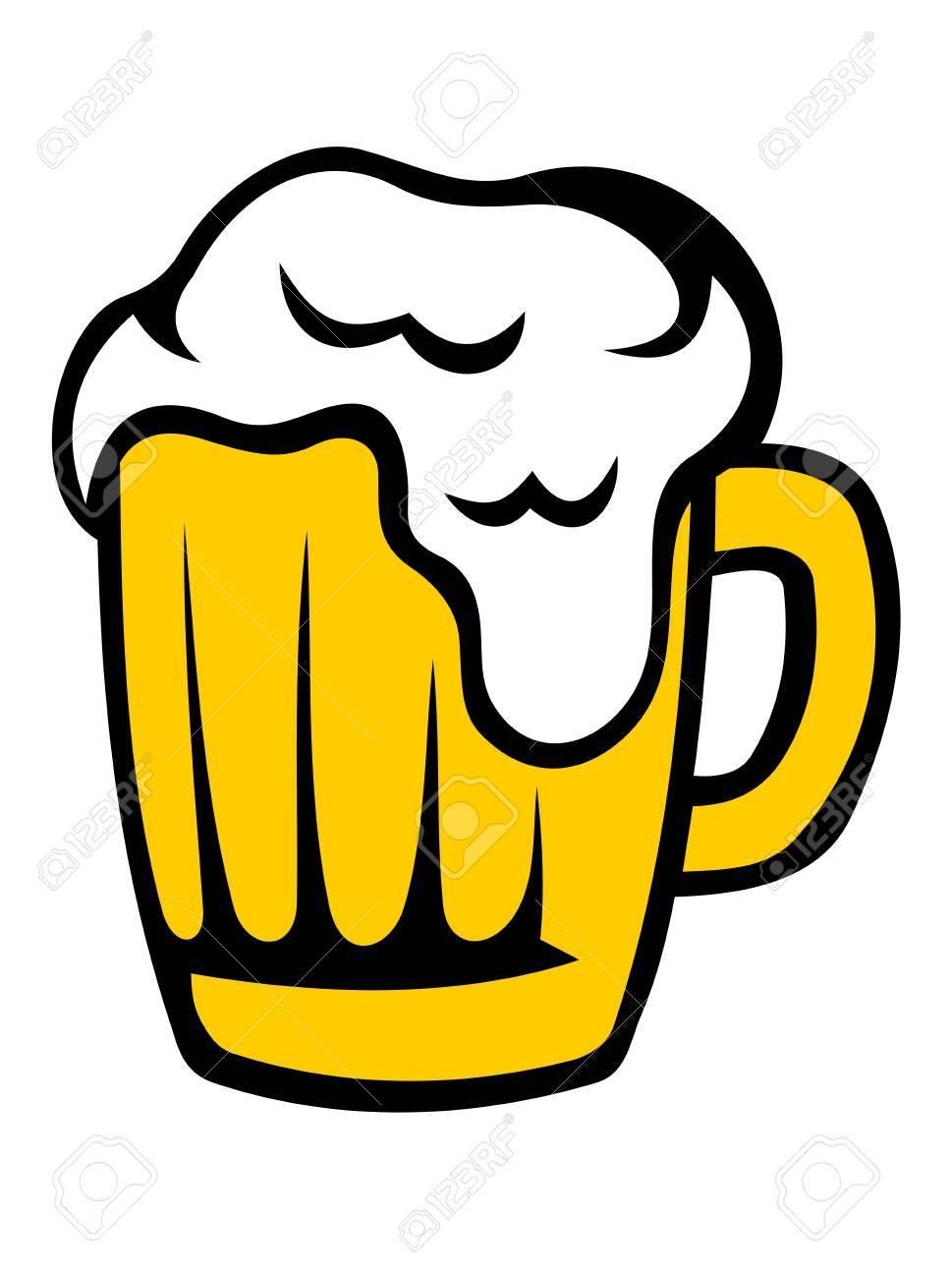 Boccale Di Birra Dorata Con Una Testa Schiumoso Traboccante Giù Il