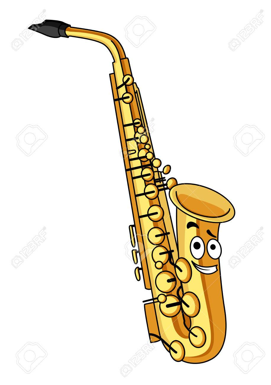 cartoon brass saxophone with a smiling face for musical design rh 123rf com Vector Background Dancing Musical Notes Vector