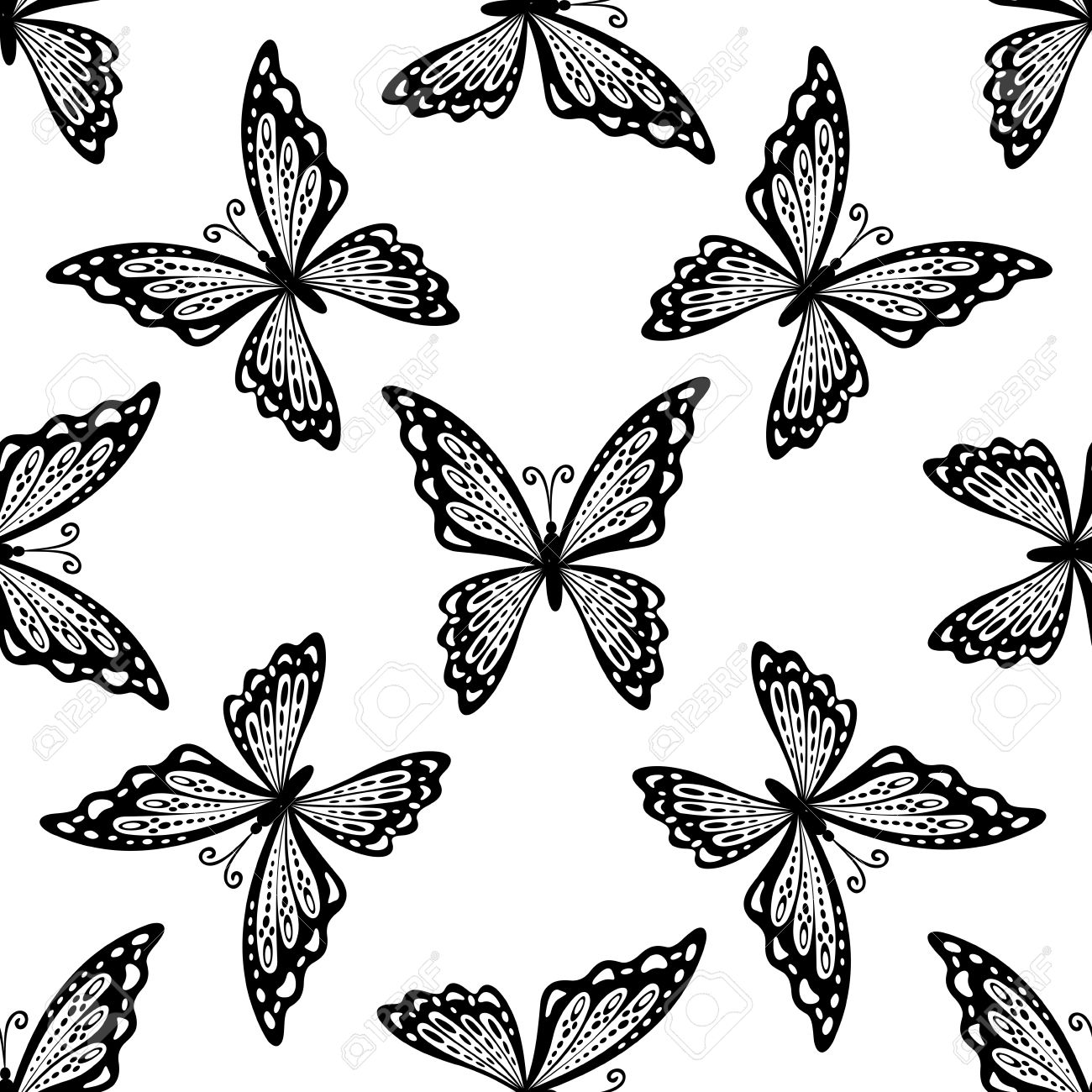 seamless pattern of delicate black and white butterflies with