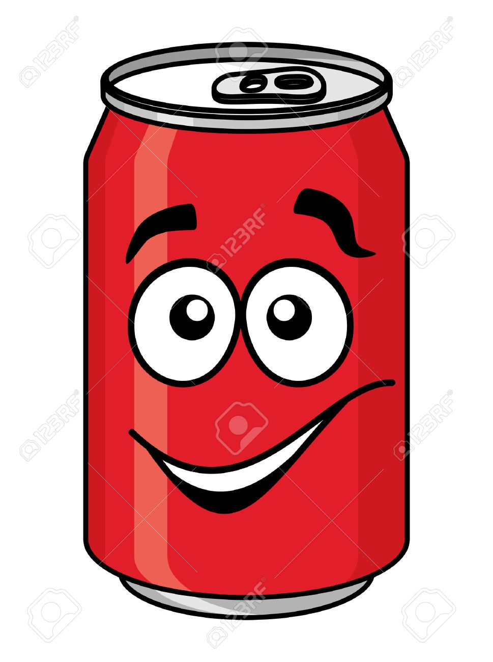 red cartoon soda or soft drink can with a smiling face isolated rh 123rf com soda can cartoon outline cartoon soda pop can