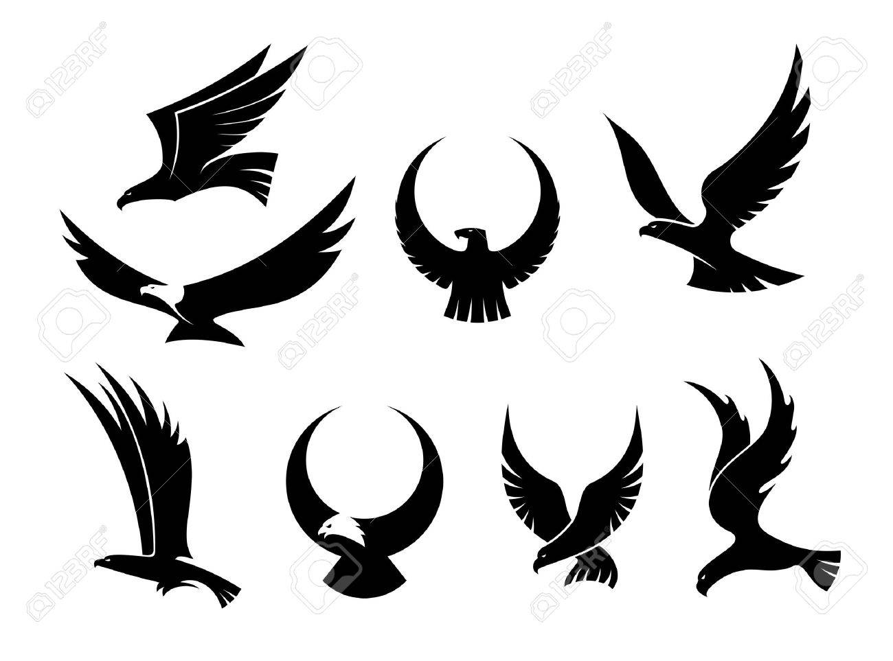 Setof black silhouettes of  Eagle Wings Silhouette
