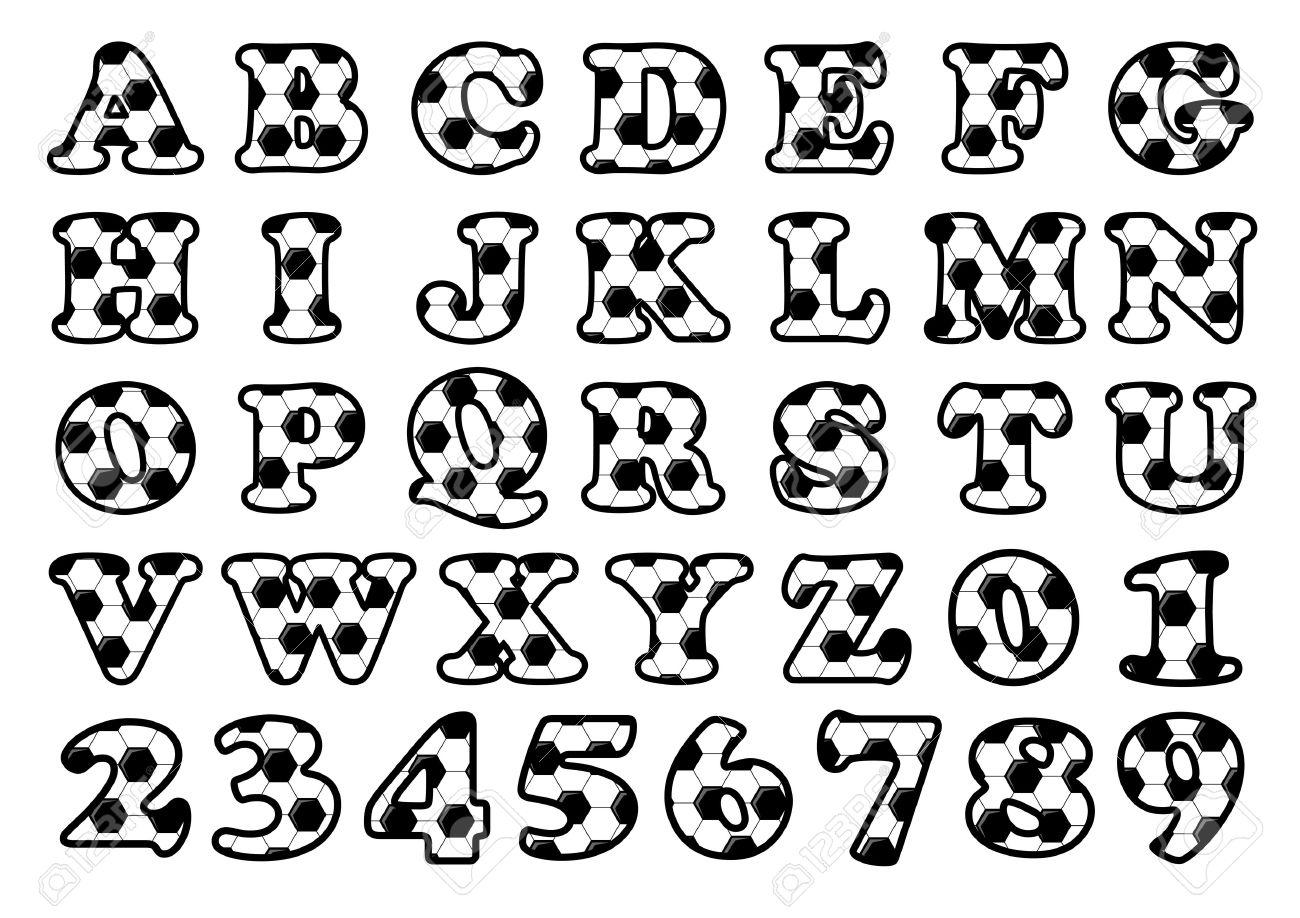 Alfabeto Patrón De Fútbol Y Los Números De Un Conjunto De Letras En
