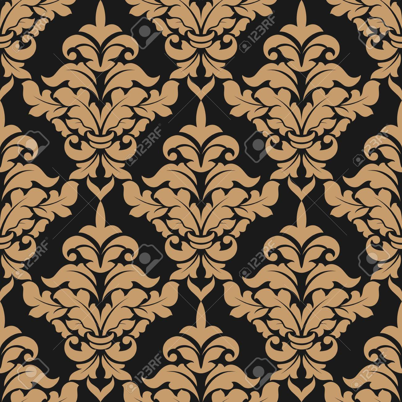 Heavy Damask Style Seamless Pattern With Large Bold Floral Motifs