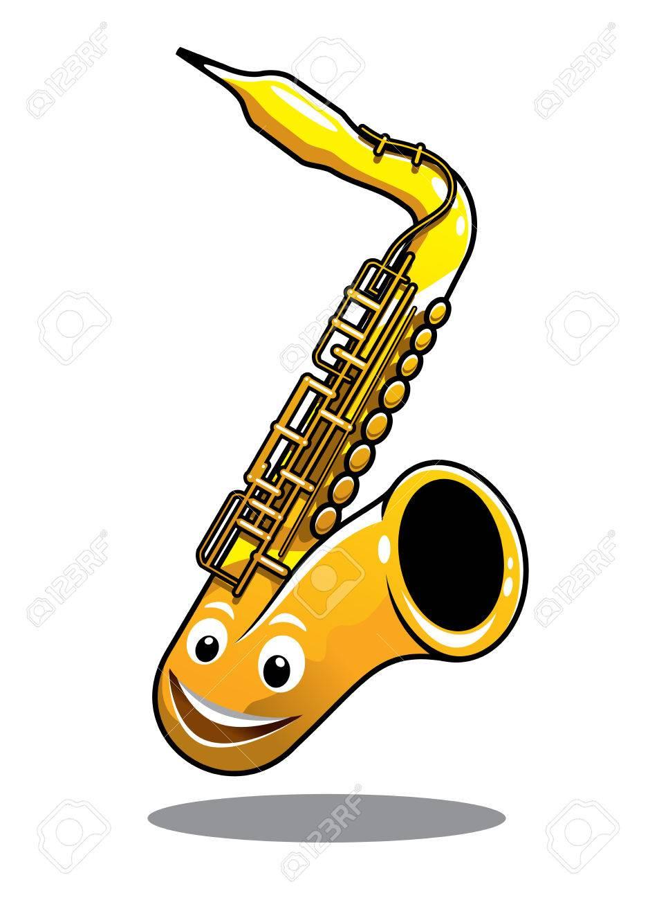 漫画面白い幸せな真鍮サックス楽器である白で隔離されるかわいい笑顔の
