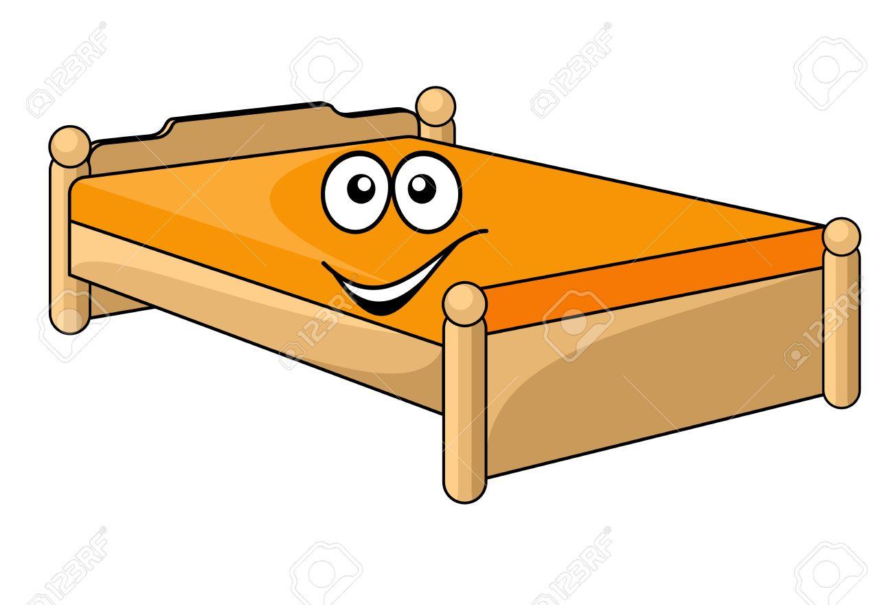 Matratzen comic  Komfortable Cartoon Bett Mit Einem Bunten Orange Matratze Mit Einem ...