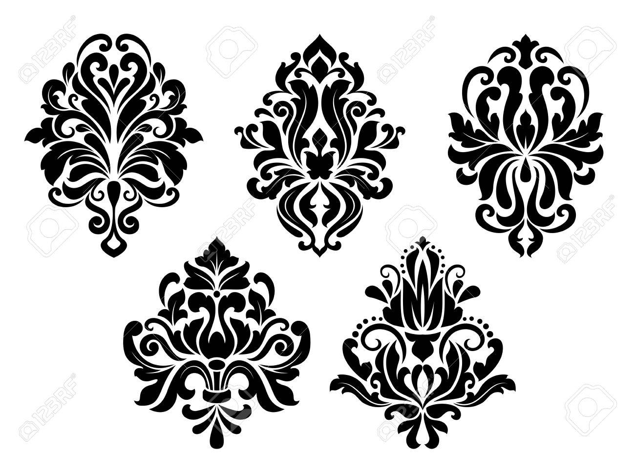 Decorative Floral Elements Set In Retro Damask Style Isolated