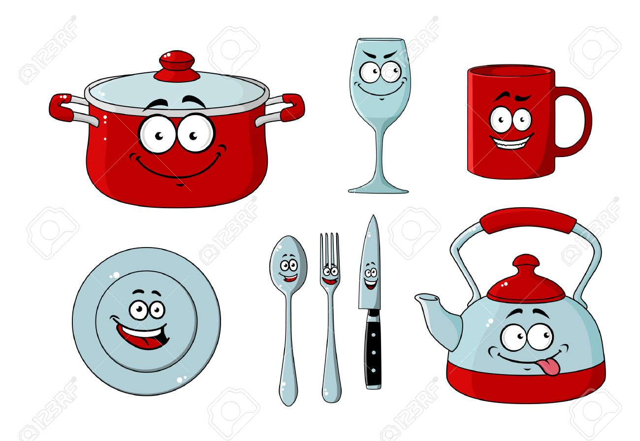 Vajilla De Dibujos Animados Y Juego De Utensilios De Cocina Para El ...