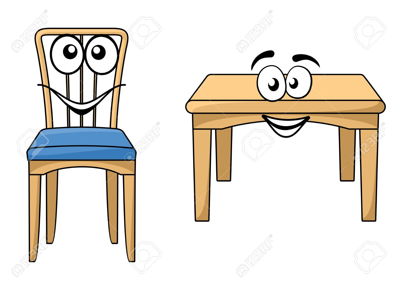 Cute Cartoon Wooden Furniture With A Happy Smiling Table And