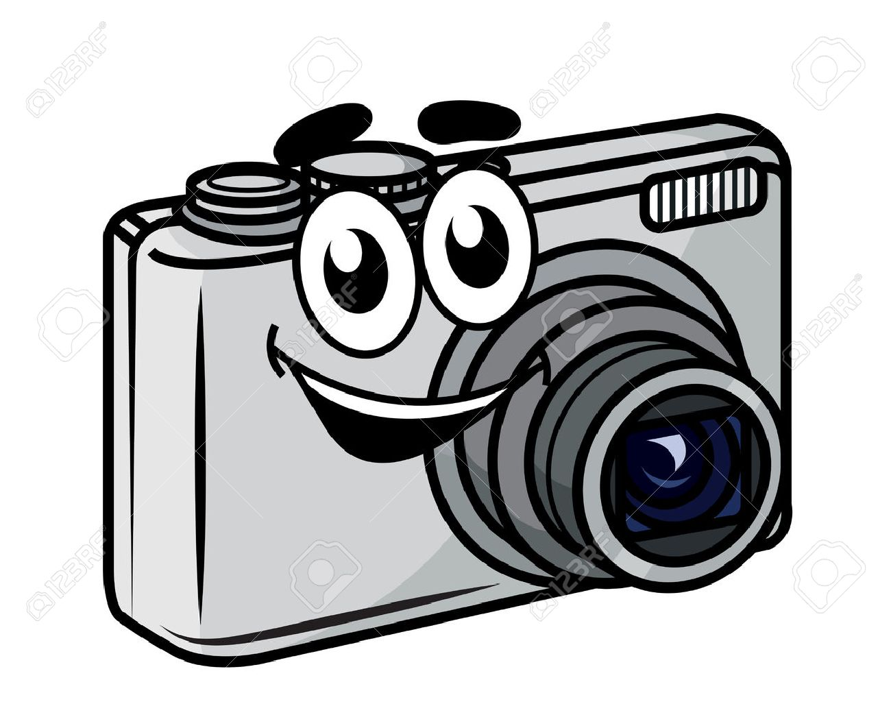 Cute Little Cartoon Compact Digital Camera With A Happy Smile