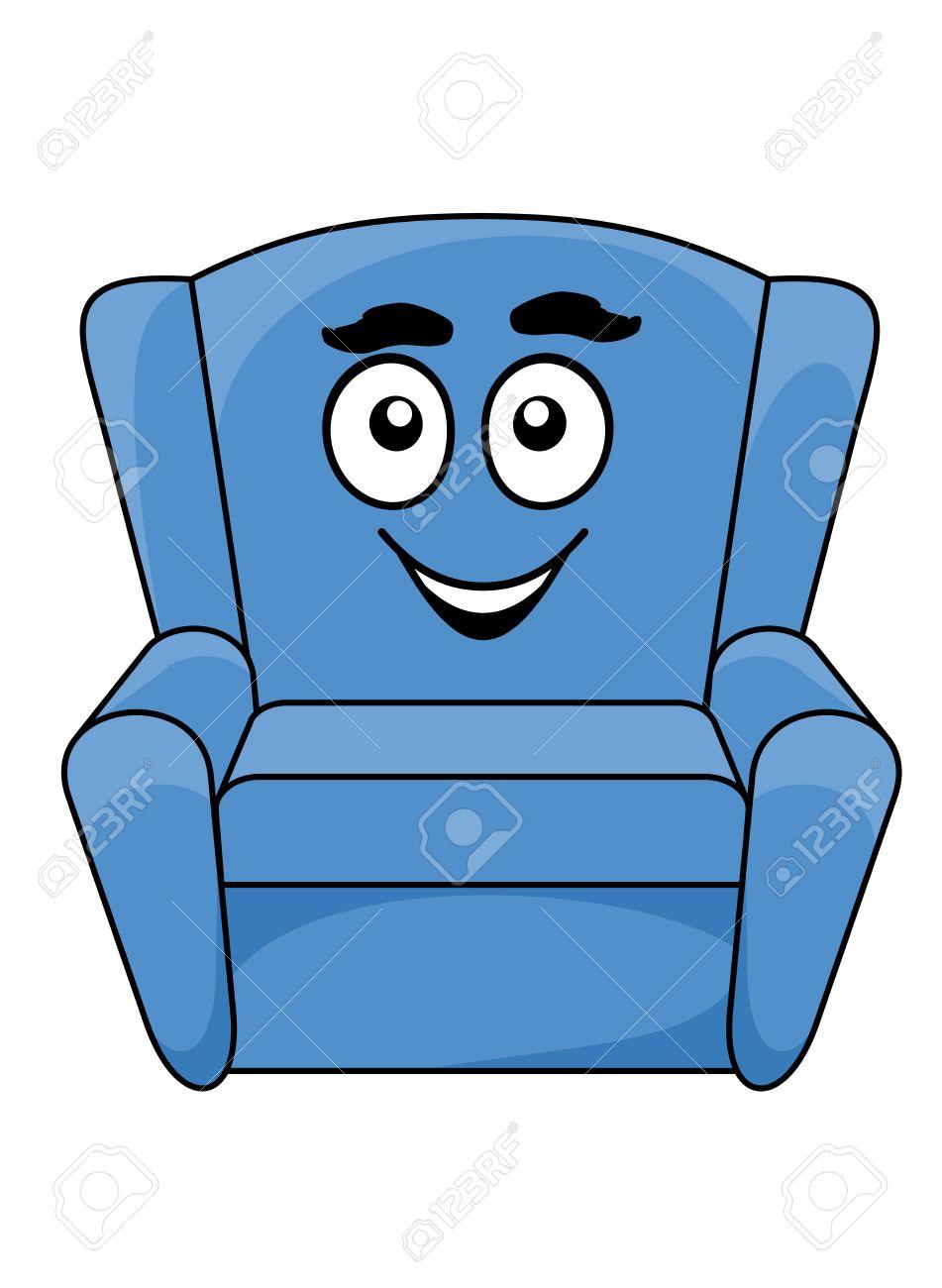 Sessel clipart  Bequeme Polster Blaue Sessel Mit Einem Glücklichen Lächelnden ...