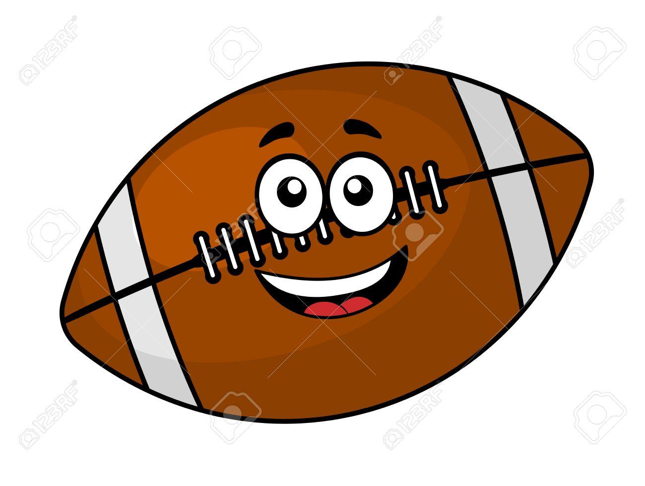 楽しい幸せな茶色の革のフットボールまたはラグビー ボール笑みを浮かべ