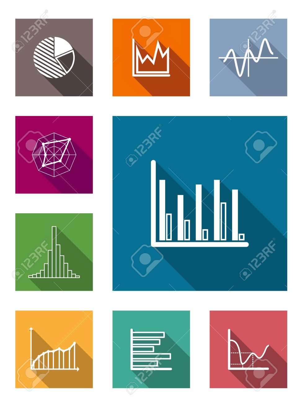 28105167 Color square flat icons with shadow for various types of diagrams as vertical and horizontal bars pi Stock Vector types of diagrams dolgular com types of diagrams at suagrazia.org