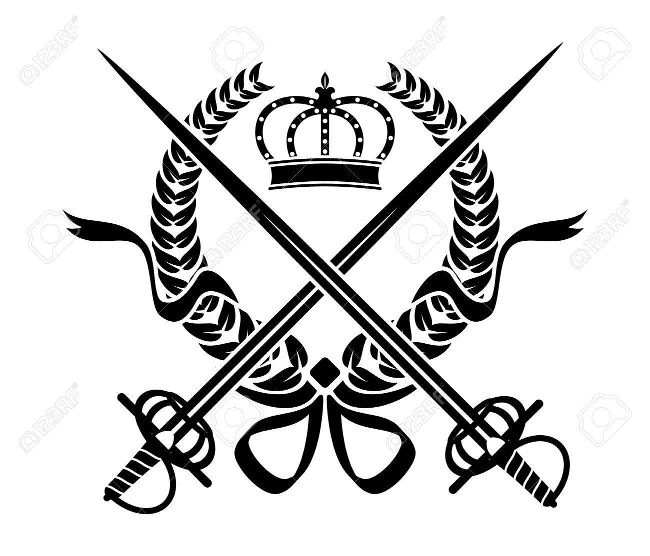 Diseño Heráldico Blanco Y Negro Con Una Corona De Follaje Espadas Y