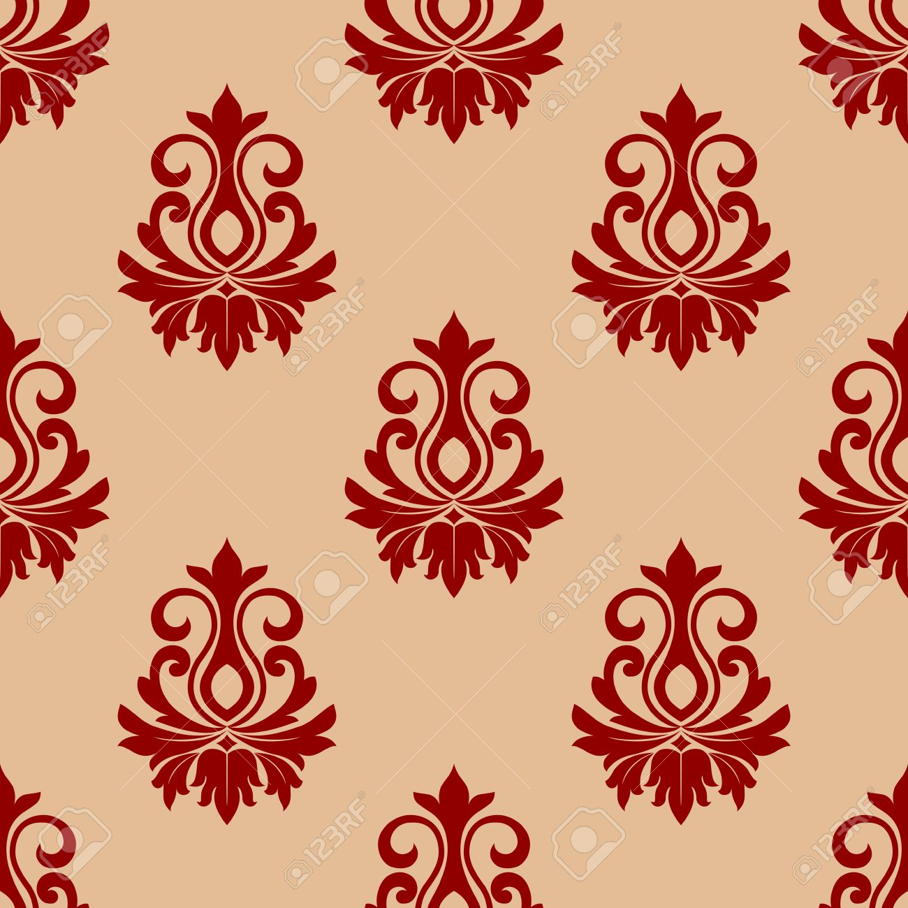 Beige And Maroon Floral Seamless Pattern Background For Wallpaper