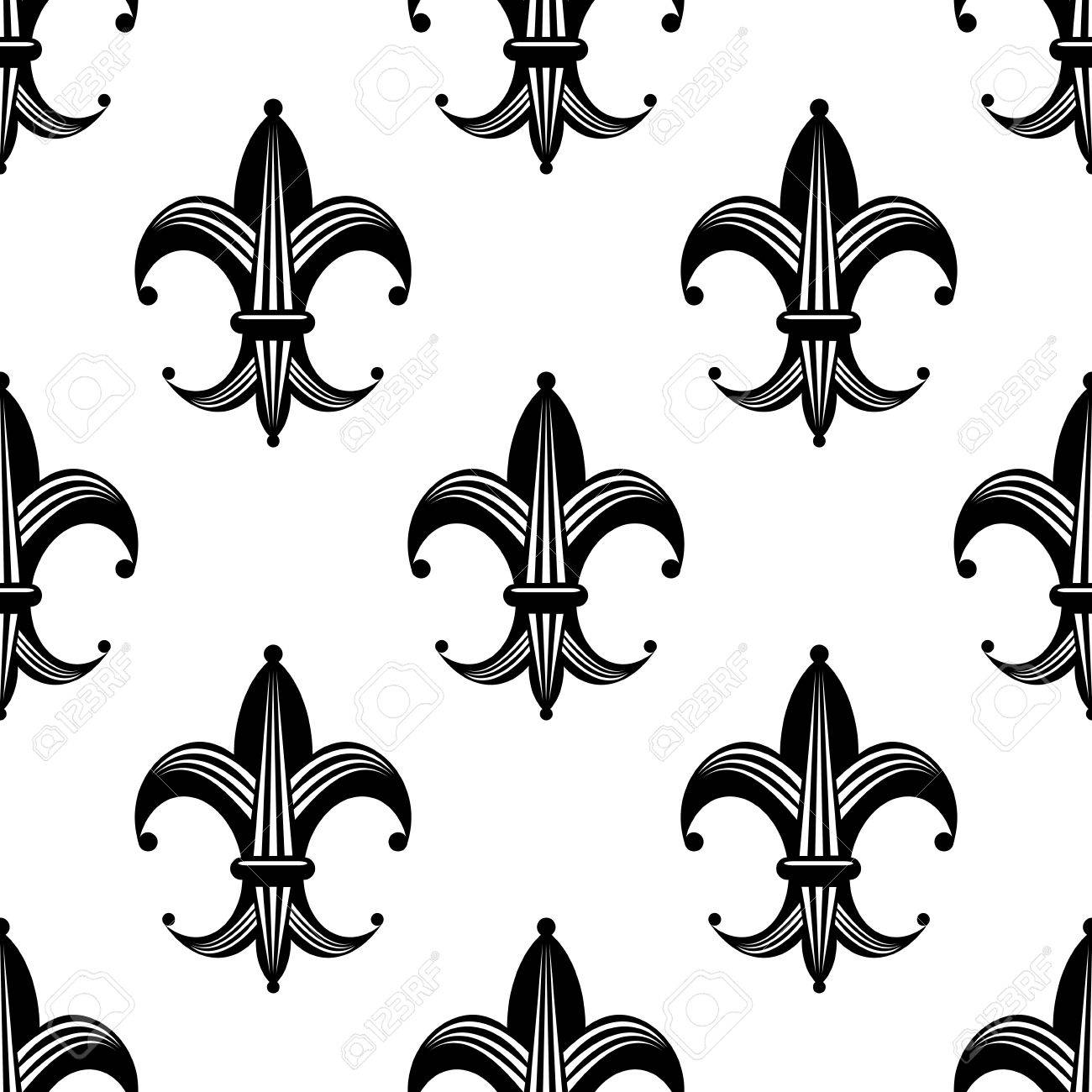 seamless bold stylized fleur de lys pattern with a repeat black