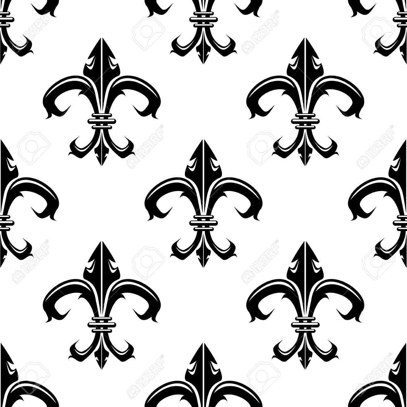 Classical french black and white fleur de lis seamless background pattern with a repeat