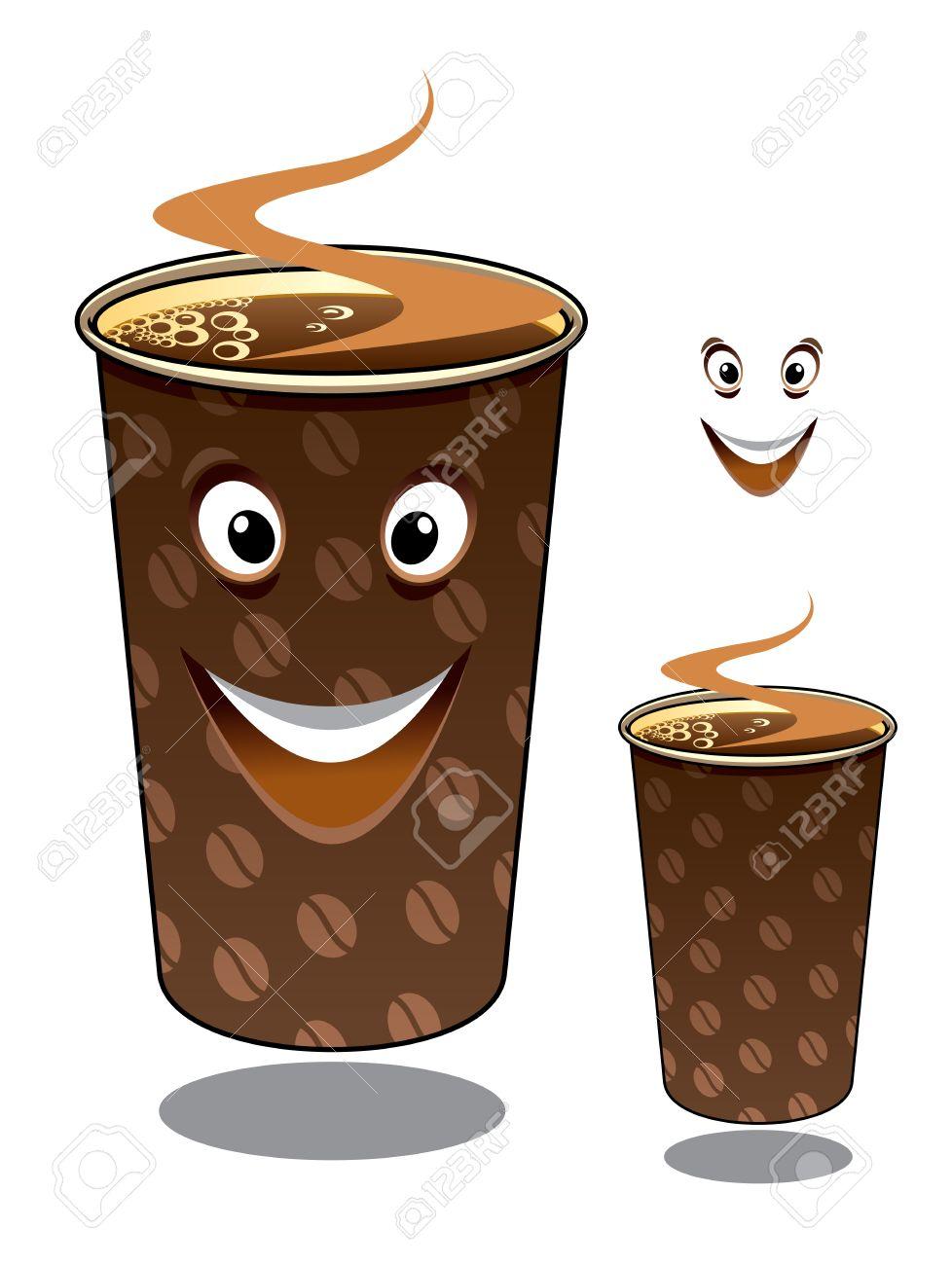 Vettoriale due cartoni animati caffè da asporto in tazze