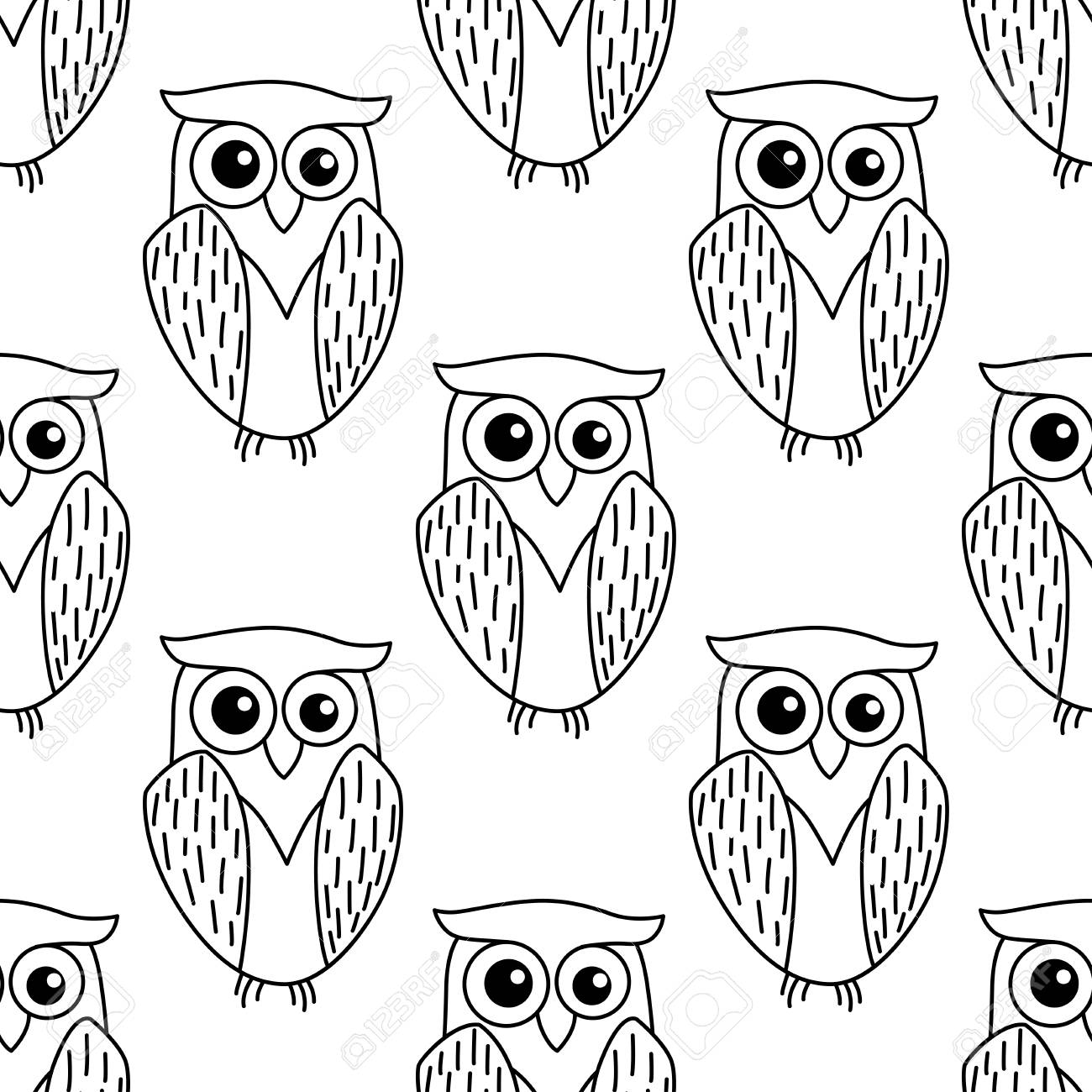 cute little owl seamless background pattern in a dainty outline