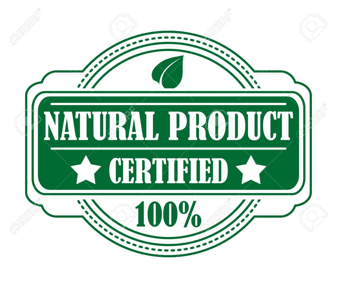 Green Colored Natural Product Label With 100 Percent Certification