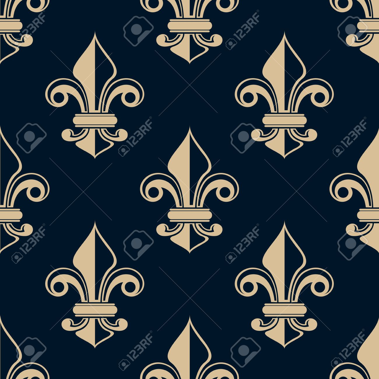 vintage fleur de lys seamless background pattern with repeat