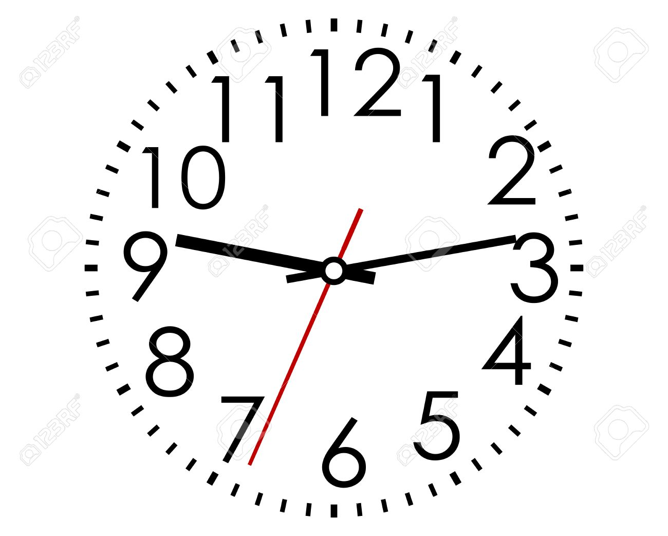 Round clock face with Arabic numerals and hour, minute and second