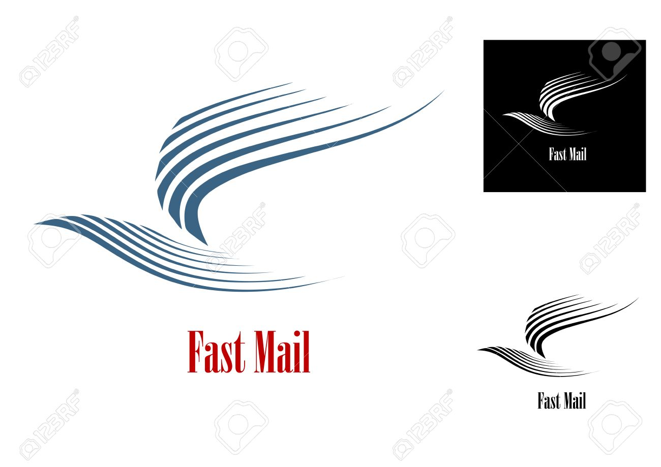 Fast mail symbol with blue dove bird and text in three variations fast mail symbol with blue dove bird and text in three variations for post or delivery biocorpaavc Gallery