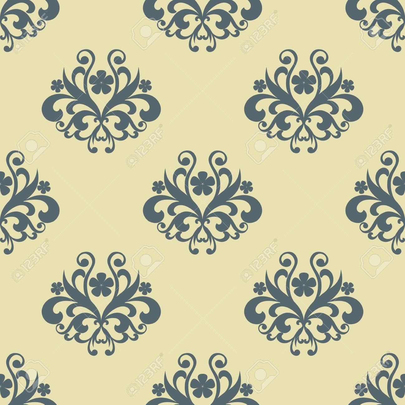 Retro Seamless Floral Pattern With Grey Flowers And Beige Background