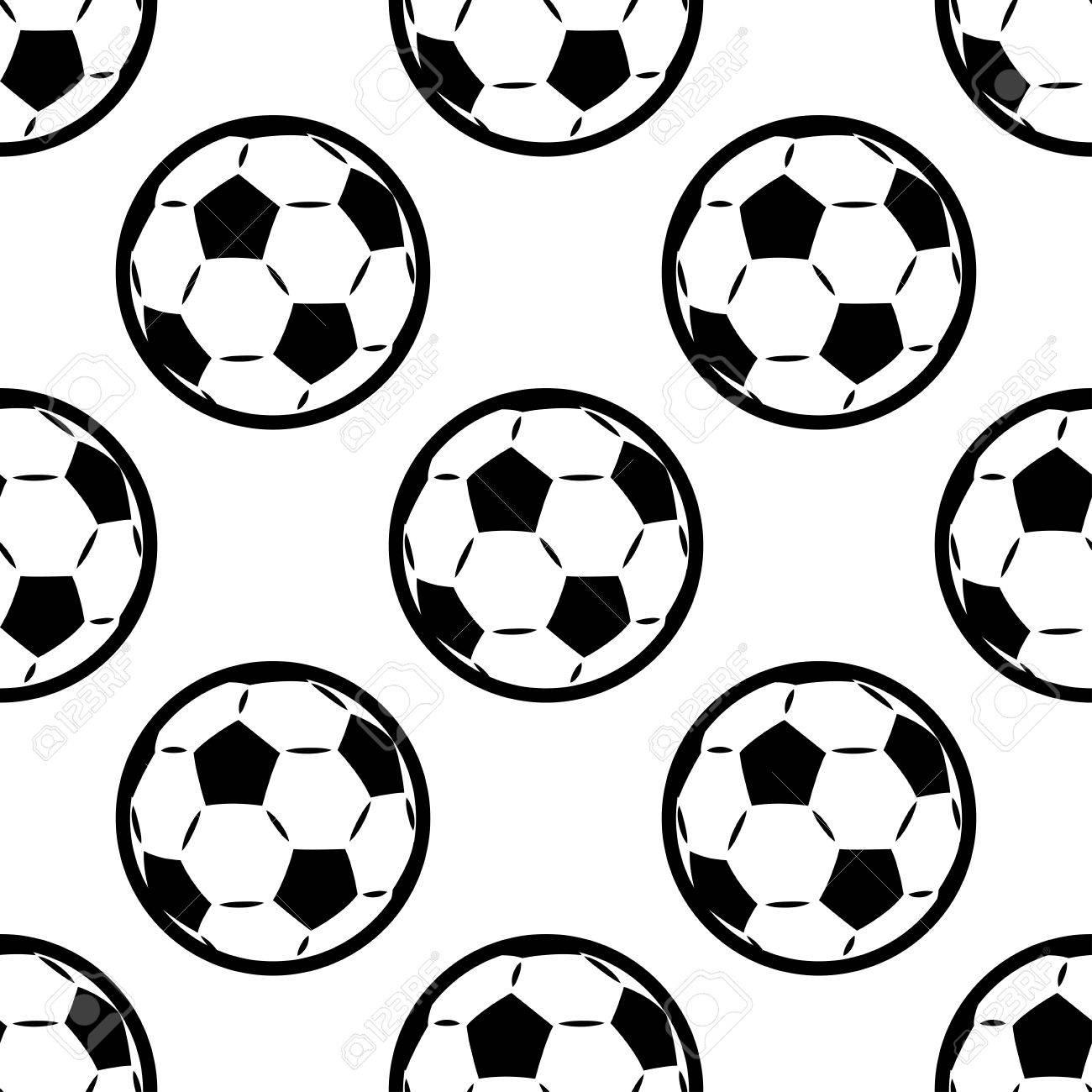 Patrón De Fondo Sin Fisuras En Blanco Y Negro De Balones De Fútbol O ...