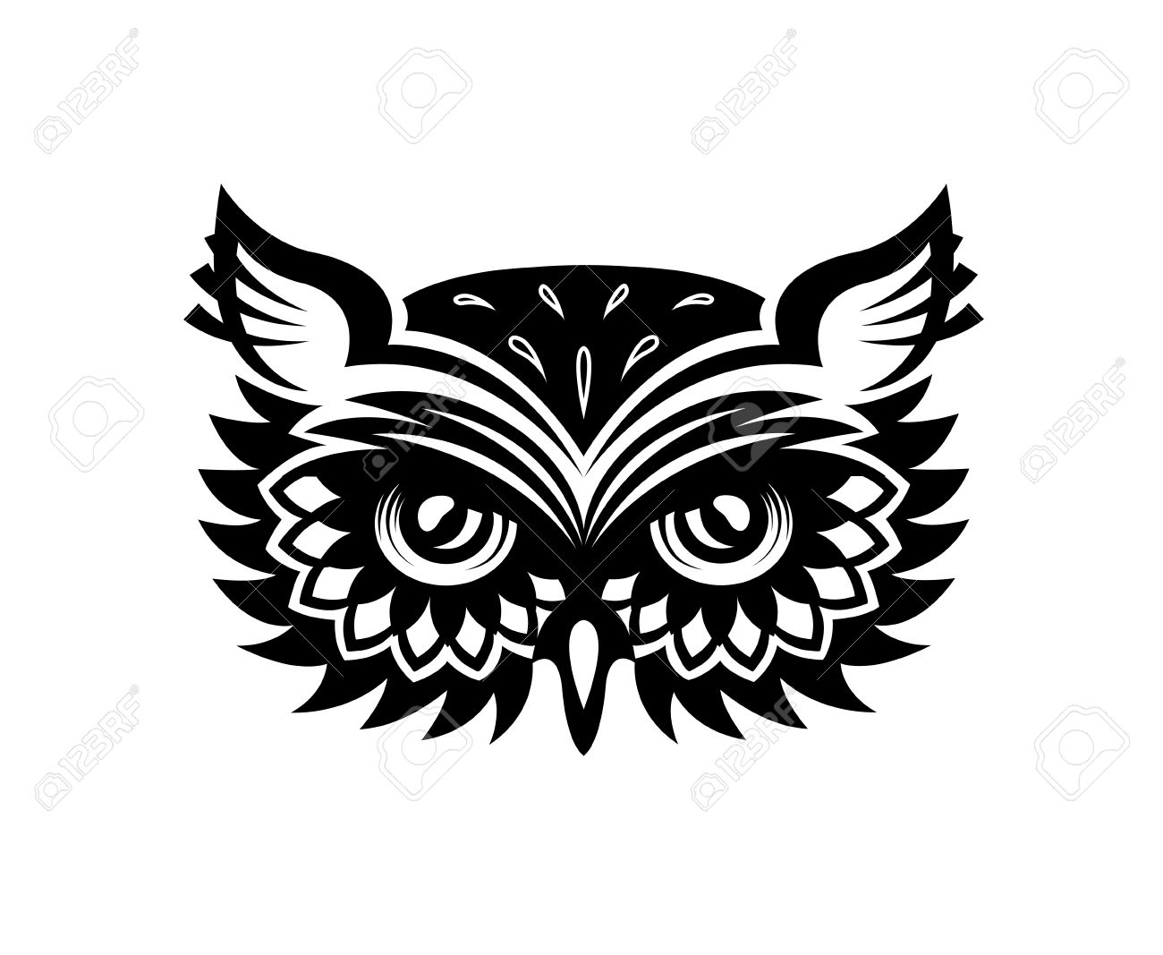 black and white wise old horned owl head with big eyes and feather