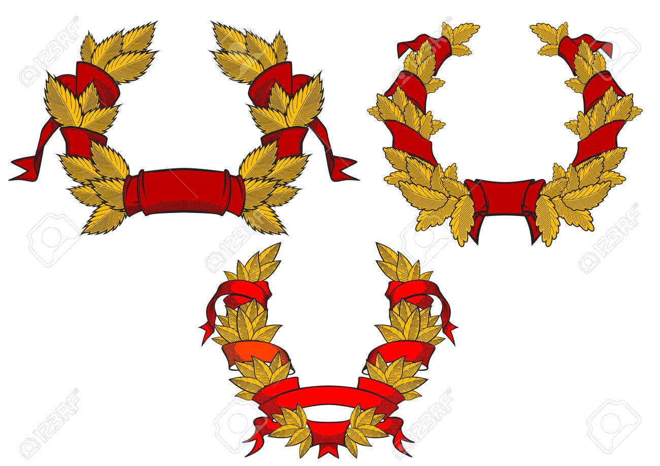 Retro wreaths with red ribbons for heraldic or anniversary design Stock Vector - 29914762