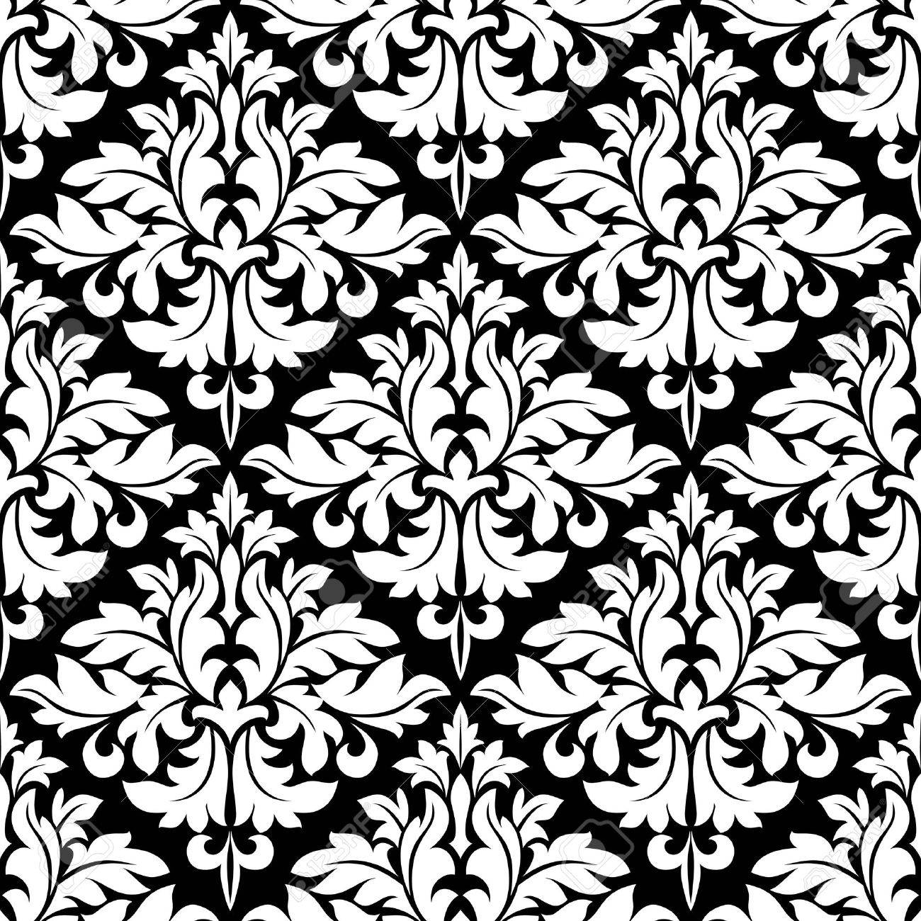 Seamless Bold White Colored Floral Arabesque Pattern In Damask