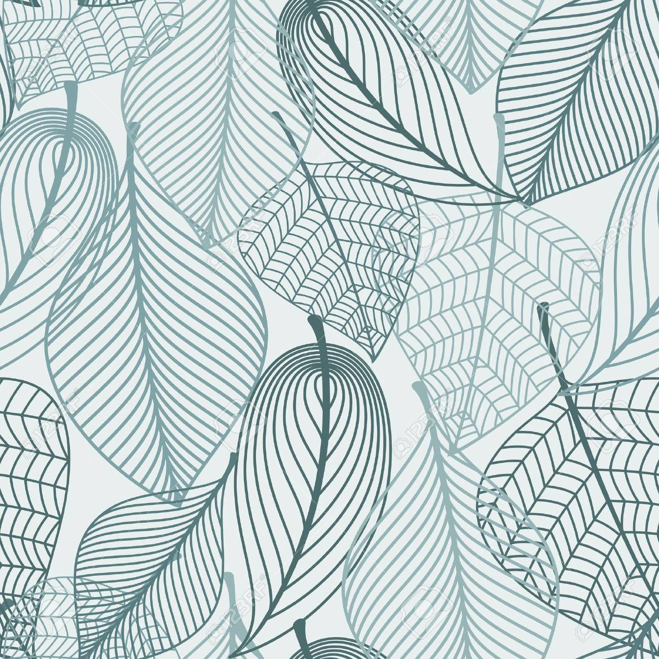 Delicate skeleton leaves background seamless pattern showing the vein detail in outline design in square format