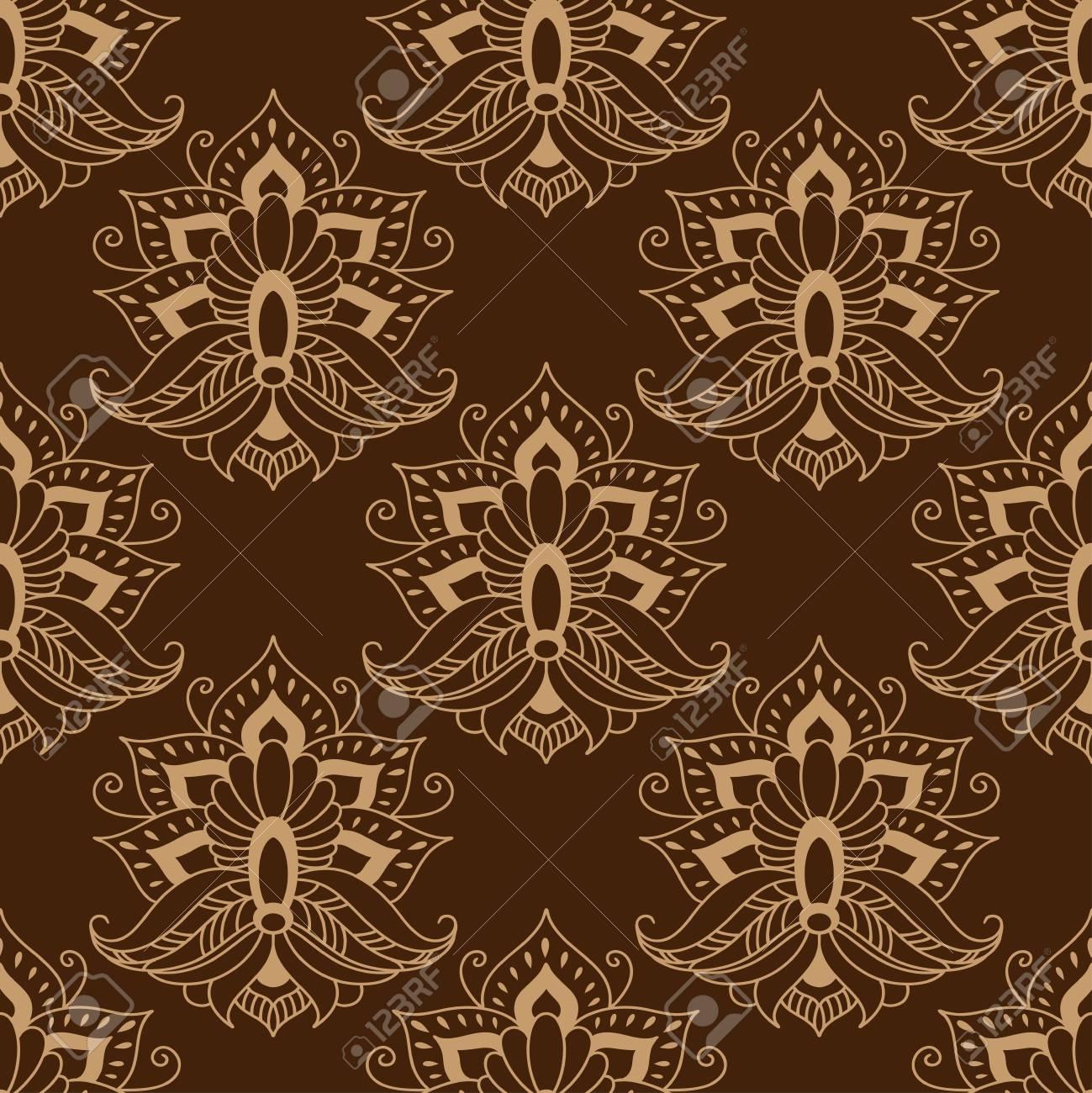 Nahtlos Braun Farbigen Blumen Arabeske Muster In Dama Motive Für Tapeten,  Fliesen Und Stoff