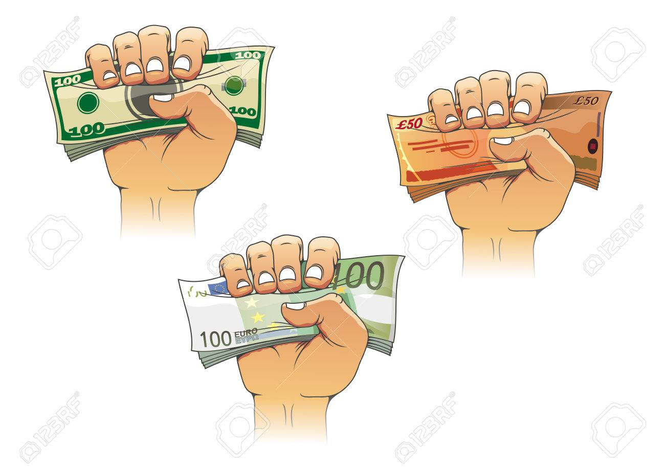 Three Hands Grasping Money With Dollar Euro And Pound Banknotes