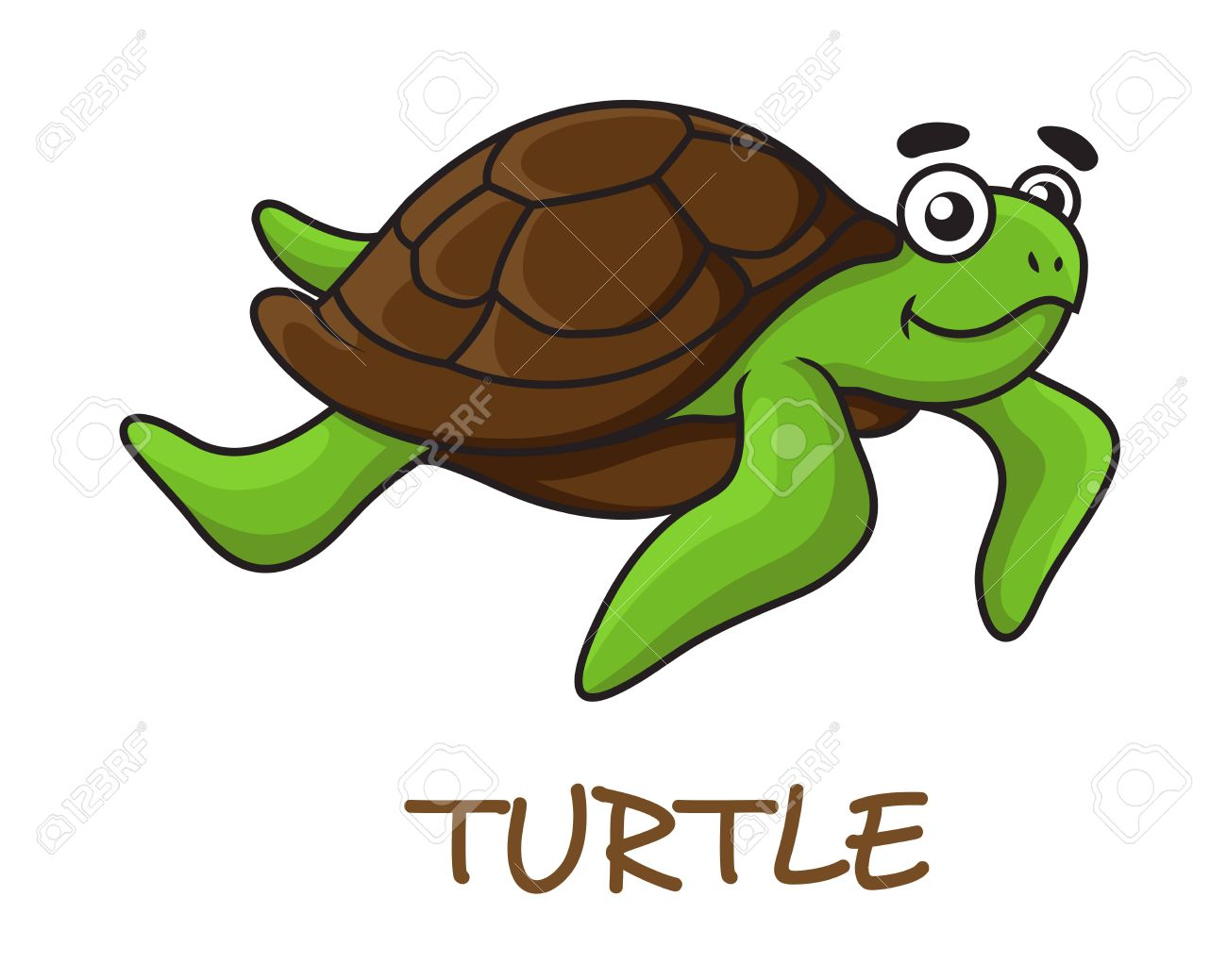 Cute Happy Green Turtle With Brown Shell In Cartoon Style Isolated