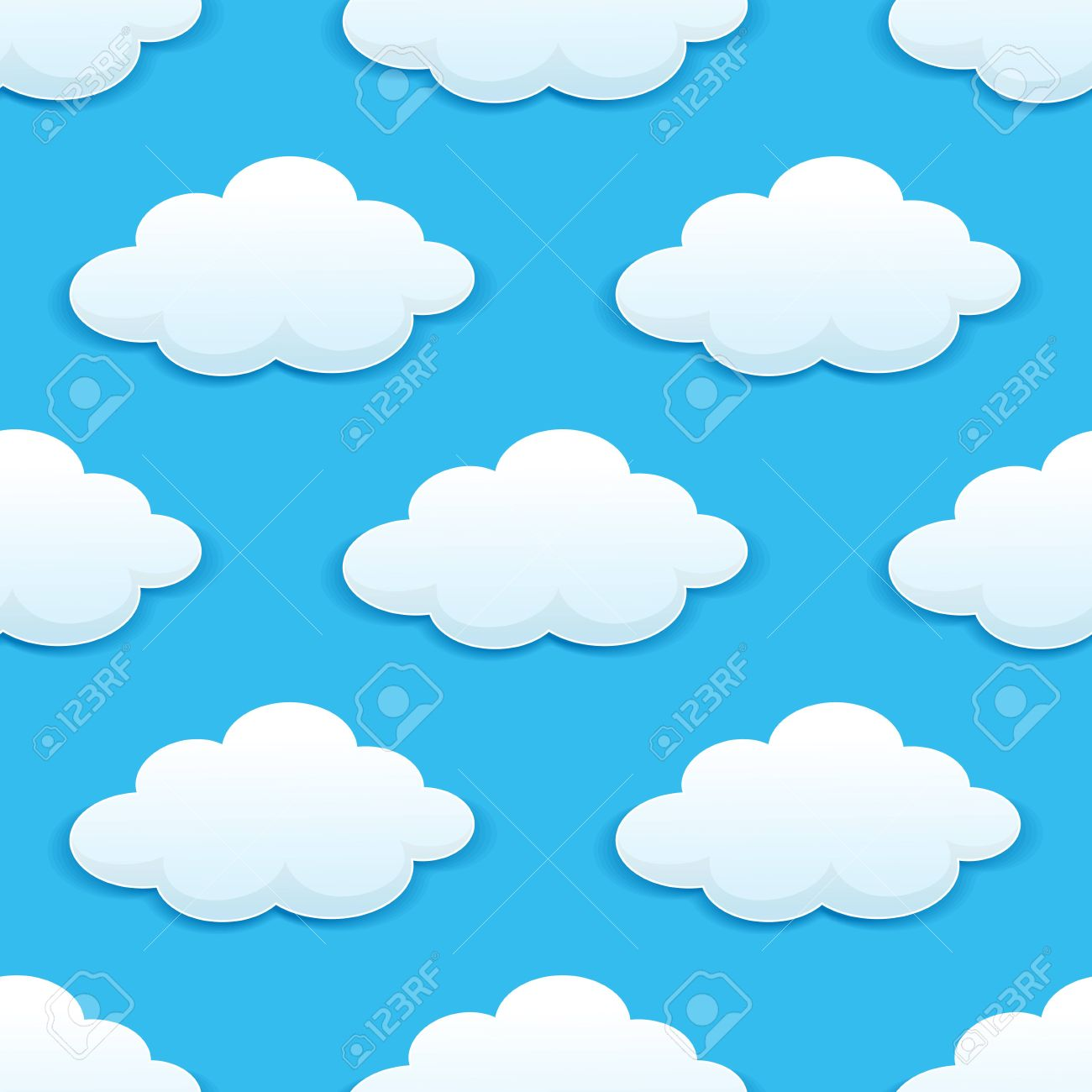 Seamless Pattern Of White And Fluffy Clouds In Blue Sky Suitable