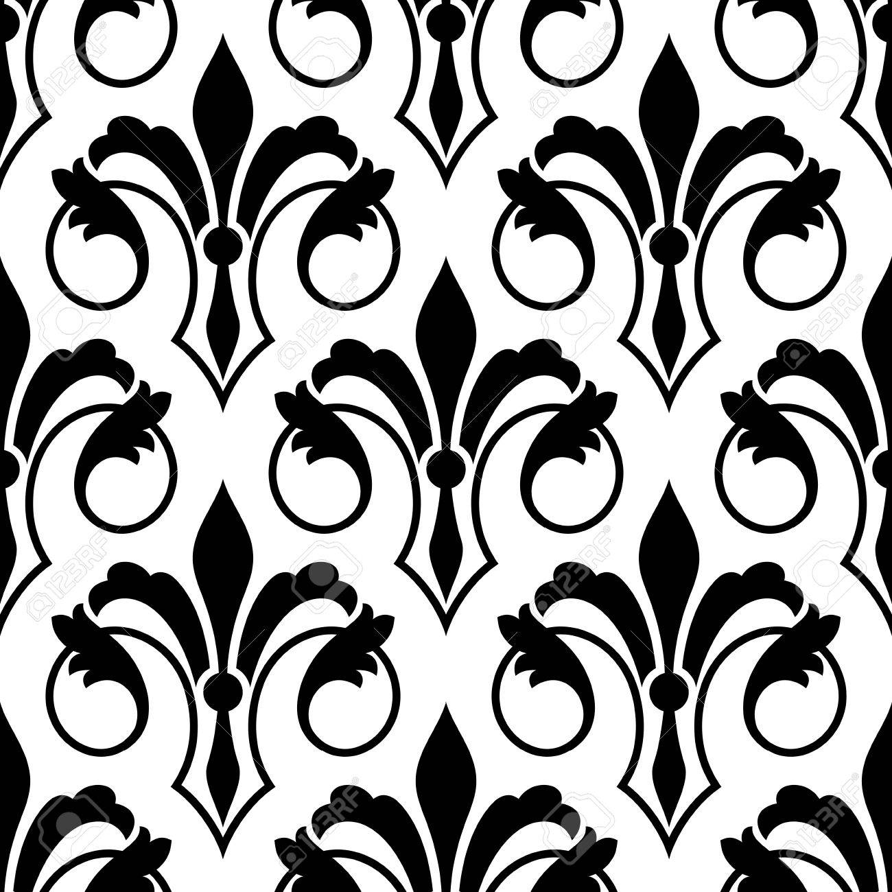 fleur de lys seamless bakground pattern with ornate motifs with