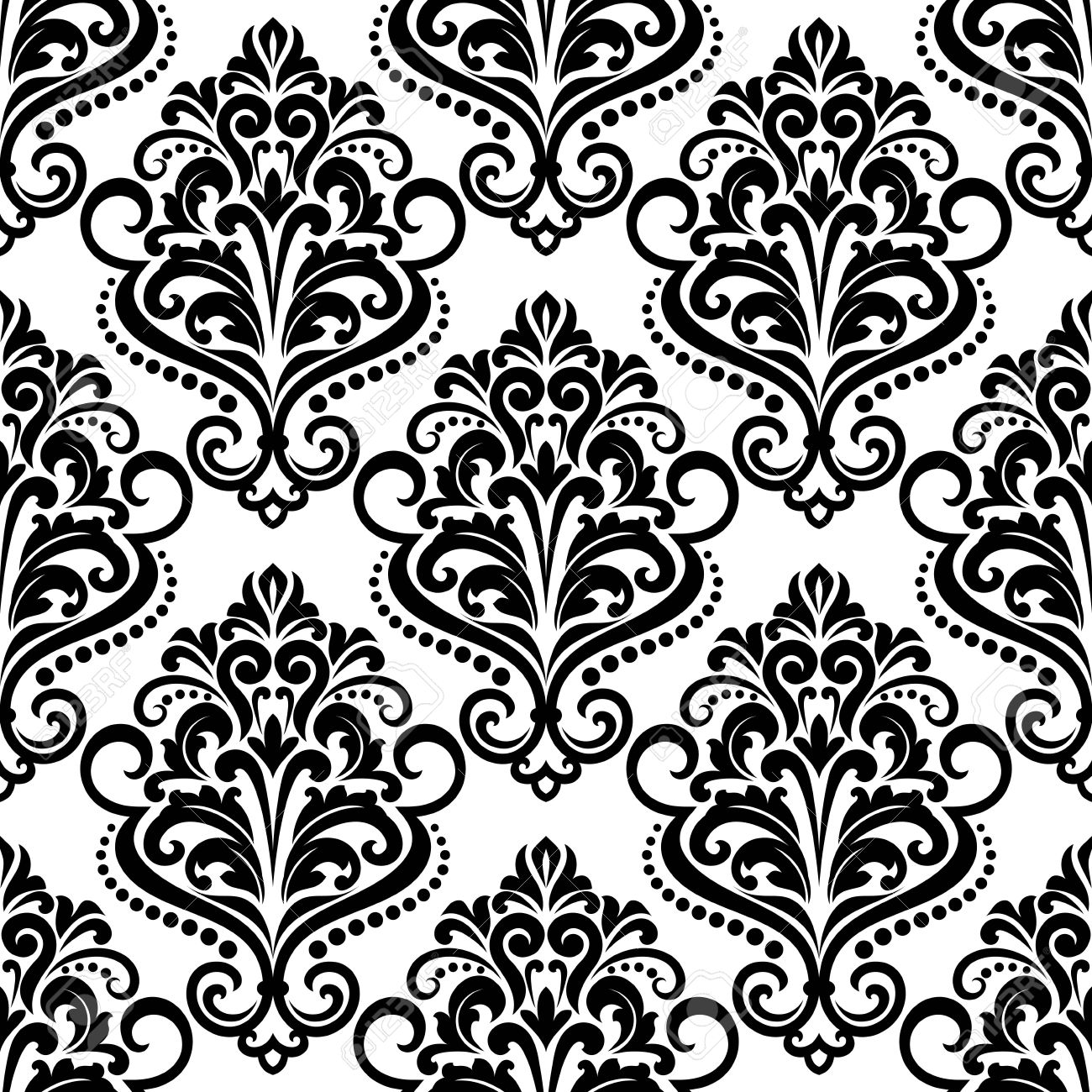 Black And White Floral Seamless Pattern Background With Arabesque  -> Floral Fundo Preto