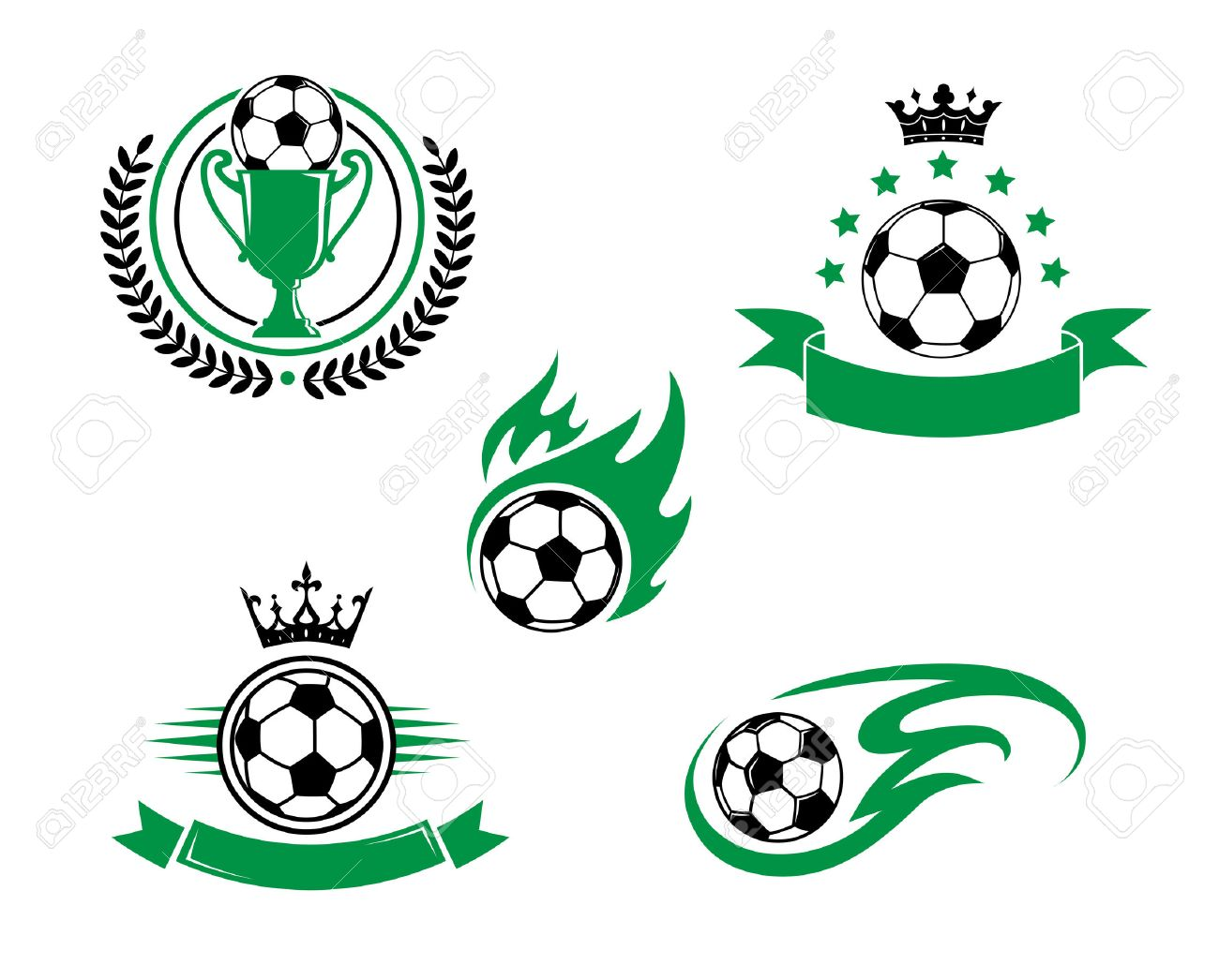 Football and soccer emblem or logo with ball, cup, laurel wreath ribbon and crown. Suitable for sporting and recreation design - 31016949