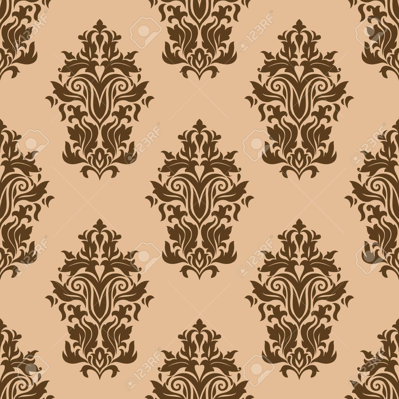Floral Retro Dark Brown Seamless Pattern On Light Brown Colored